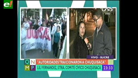 """Lili Fernández cívica de Chuquisaca: """"Regalaron nuestro territorio por votos"""""""