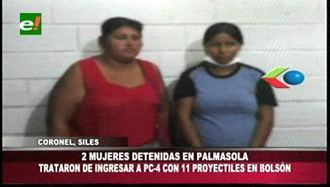 Detienen a dos mujeres que pretendían ingresar balas a Palmasola