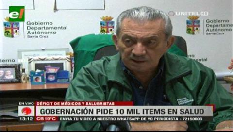 Gobernación cruceña lamenta que el Gobierno no dote los ítems que necesitan