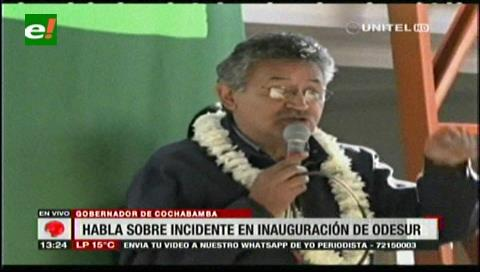 Gobernador Canelas pide evitar que 'extraños' griten 'Bolivia dijo No' en Cocha 2018