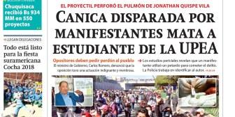 Portadas de periódicos de Bolivia del viernes 25 de mayo de 2018