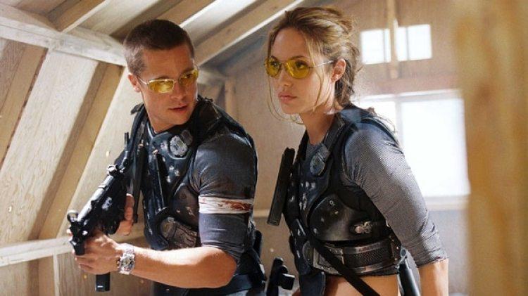 Brad Pitt y Angelina Jolie en la película, Sr. y Sra Smith, 2005 (Grosby Group)