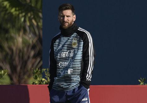 Lionel Messi en el entrenamiento de este martes en Ezeiza. Foto: AFP
