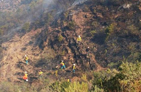 Bomberos trabajan en el sector Pinos de la serranía de Sama en Tarija para apagar el incendio.