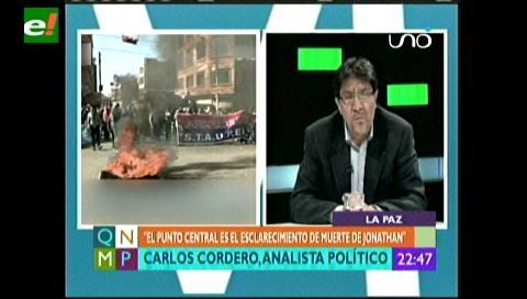 """Carlos Cordero: """"El Alto lo que quiere es que se aclare la muerte de Jonathan"""""""