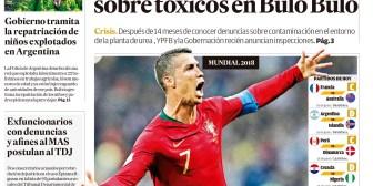 Portadas de periódicos de Bolivia del sábado 16 de junio de 2018
