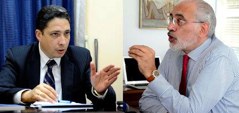 El ministro de Justicia, Héctor Arce, y el expresidente Carlos Mesa.