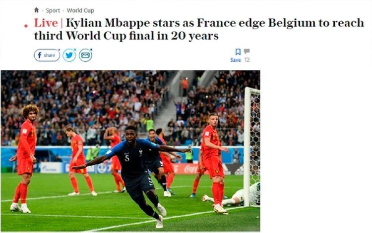 """""""Mbappé brilla mientras Francia supera a Inglaterra y alcanza su tercera final en 20 años"""" (The Telegraph, Inglaterra)"""