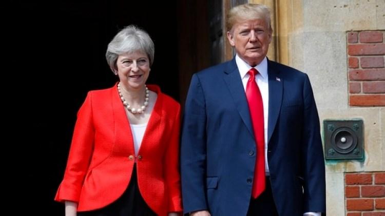 """La relación es muy, muy sólida, tenemos una muy buena relación"""", dijo Trump al lado de May (AP Photo/Pablo Martinez Monsivais)"""