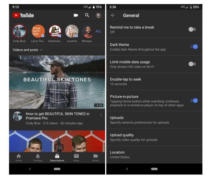 El Modo Oscuro de YouTube llega a Android