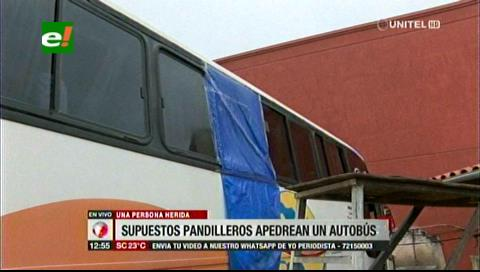 Pandilleros apedrean bus con pasajeros que llegaba desde Guarayos
