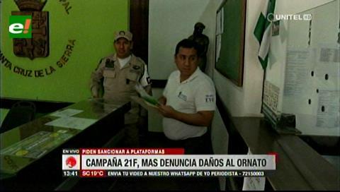 Masistas piden a la Alcaldía cruceña sancionar a las plataformas por destruir el ornato público