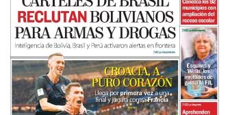 Portadas de periódicos de Bolivia del jueves 12 de julio de 2018
