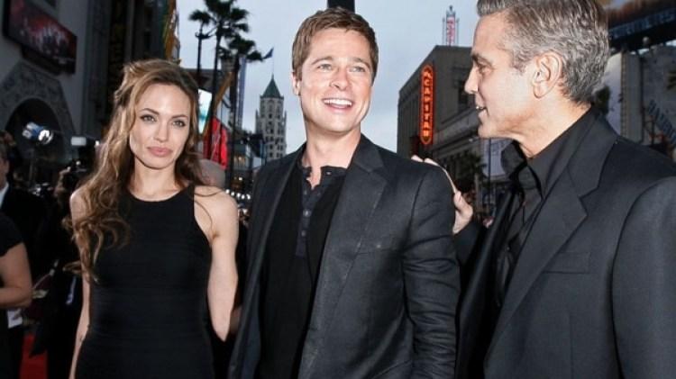 Otros tiempos: Angelina Jolie, Brad Pitt y su amigo George Clooney