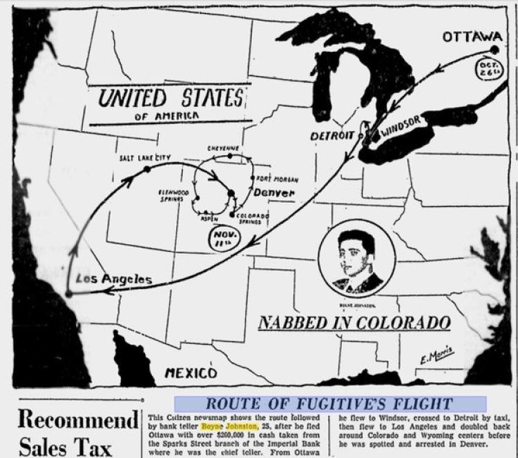 The Citizen, publicación de Ottawa, reconstruyóla ruta del ladrón fugitivo en 1958.