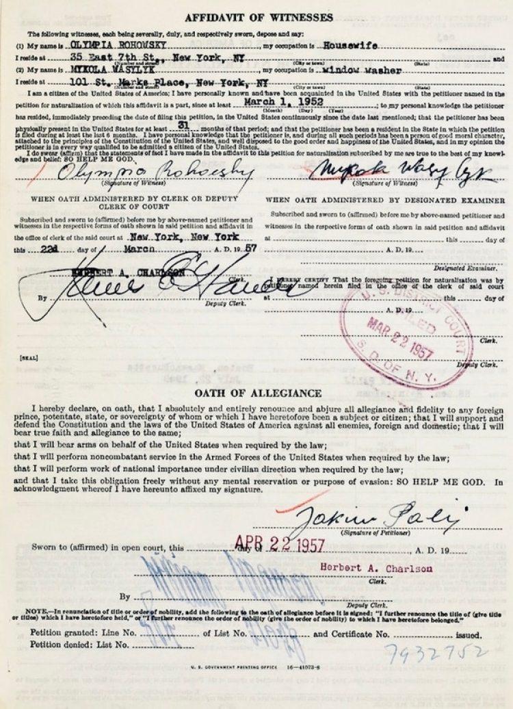 El documento de naturalización de Jakiw Palij como ciudadano norteamericano, fechado el 22 de abril de 1957