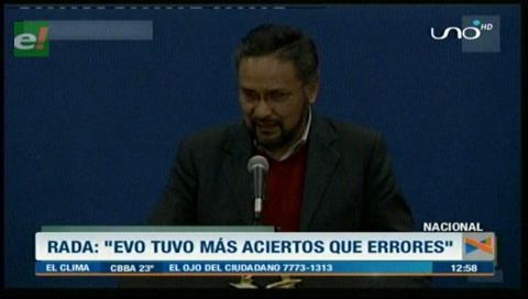 Rada destaca el récord de Evo, resalta sus logros y reconoce que no es un Gobierno perfecto