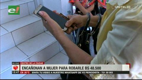 Delincuentes encañonan y roban Bs. 48.500 a una mujer afuera de un banco