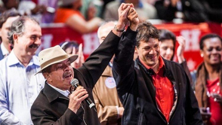 Lula da Silva, junto a su compañero de fórmula, Fernando Haddad