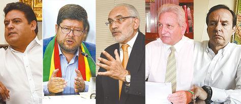 Luis Revilla, Samuel Doria Medina, CarlosMesa, Rubén Costas y Jorge Quiroga Ramírez