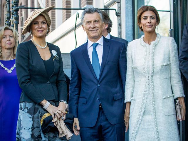 Máxima de Holanda, Mauricio Macri y Juliana Awada en la visita de estado de estos últimos a Holanda.