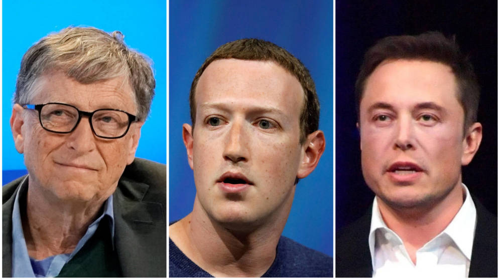 Foto: Bill Gates, Mark Zuckerberg y Elon Musk (Reuters)