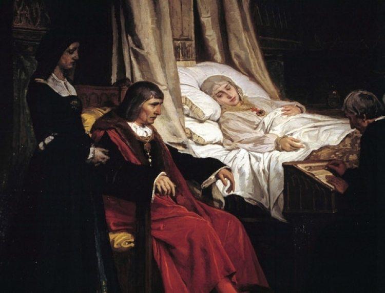 Isabel la Católica dictando su testamento (Oleo de Eduardo Rosales, Museo del Prado, Madrid)
