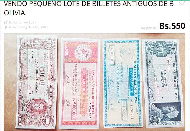 OLX. También hay los de un peso y de 5.000.000 de pesos bolivianos.