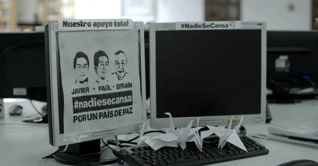 Puesto de trabajo de Javier Ortega en la redacción de El Comercio. (J. Giraudat / Forbidden Stories)
