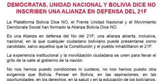 Demócratas, Unidad Nacional y Plataforma 'Bolivia Dice No' inscriben alianza en defensa del 21F