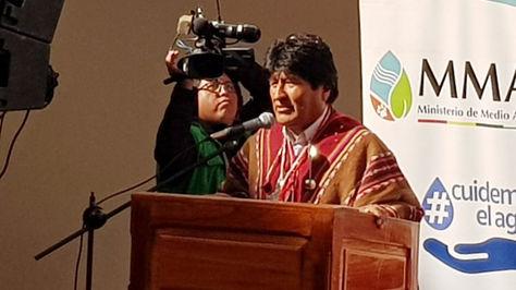 El presidente Evo Morales en el acto en la Asamblea Departamental de Potosí.