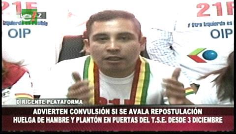 OIP anuncia plantón y huelga de hambre a partir del 3 diciembre en el TSE