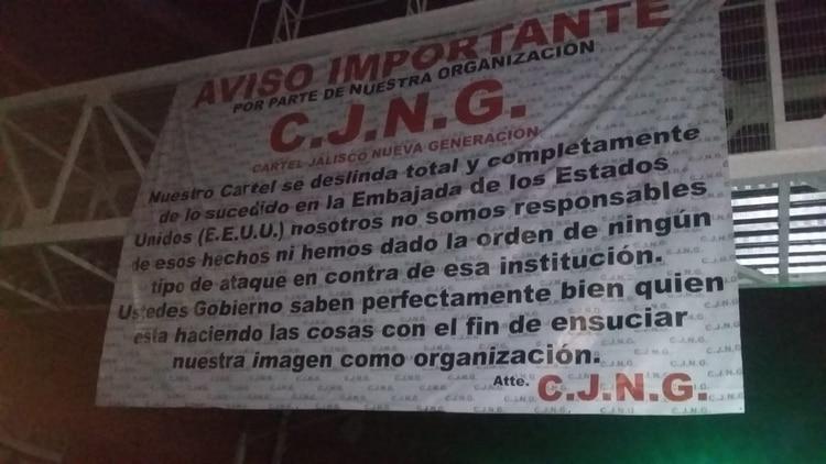 Las más reciente advertencia del Cártel Jalisco a través de narcomantas (Foto: Especial)