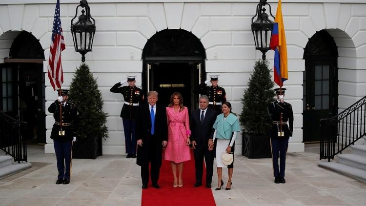 El presidente de Estados Unidos recibió al presidente de Colombia Ivan Duque y su esposa Juliana Ruiz en la CasaBlanca
