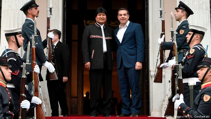 Griechenland Evo Morales, Präsident Bolivien & Alexis Tsipras in Athen (Getty Images/AFP/L. Gouliamaki)