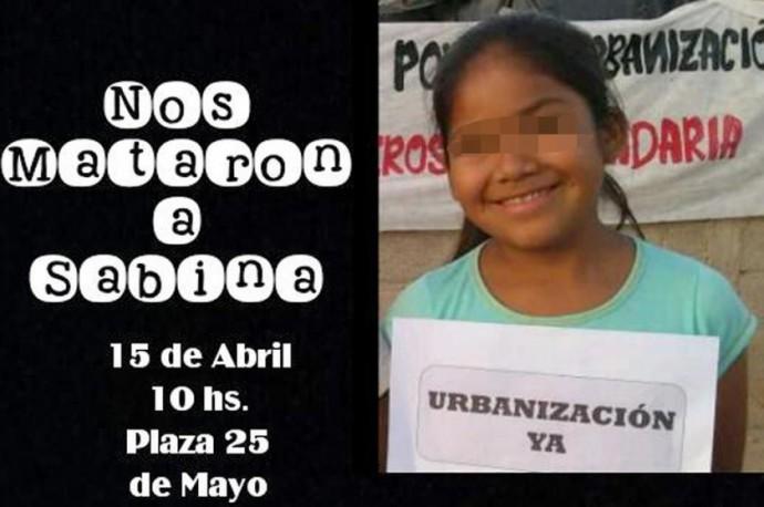 Sabina, la niña boliviana que fue asesinada en La Rioja, Argentina. FOTO: Twitter