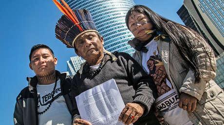 Protesta de las comunidades indígenas contra las hidroeléctricas.
