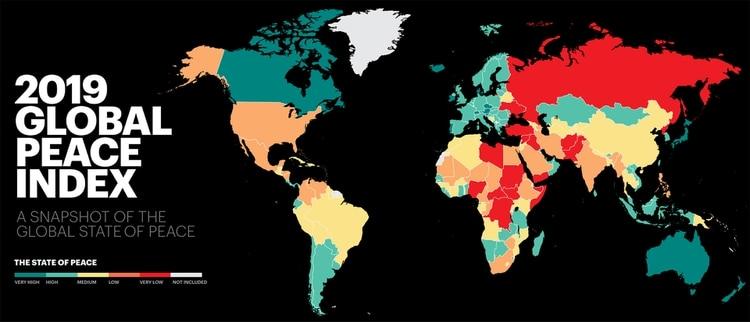 El mapa del Índice Global de Paz (Institute for Economics & Peace)