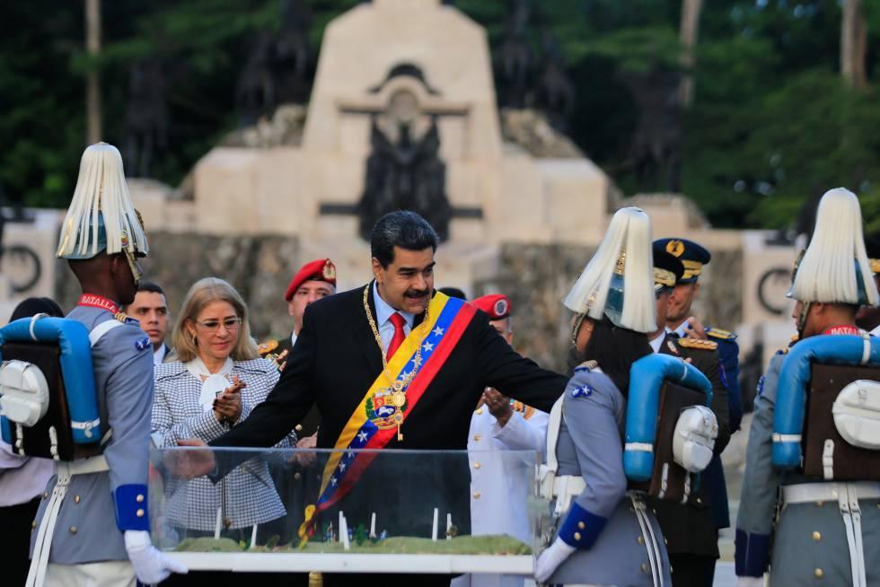 Nicolás Maduro, este lunes durante un acto castrense.