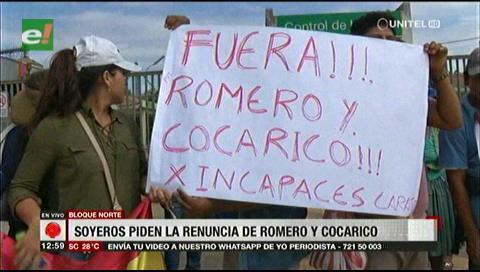 Soyeros piden la renuncia de Romero y Cocarico