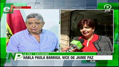 Paola Barriga, candidata a Vice, no sabía de la renuncia de Paz Zamora, fue «decisión personal no consensuada con el PDC»