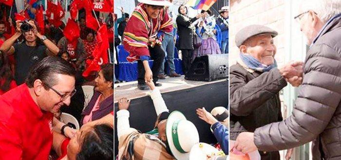 LOS CANDIDATOS MÁS MEDIÁTICOS: EVO MORALES (MAS), CARLOS MESA (CC) Y ÓSCAR ORTIZ (BDN).