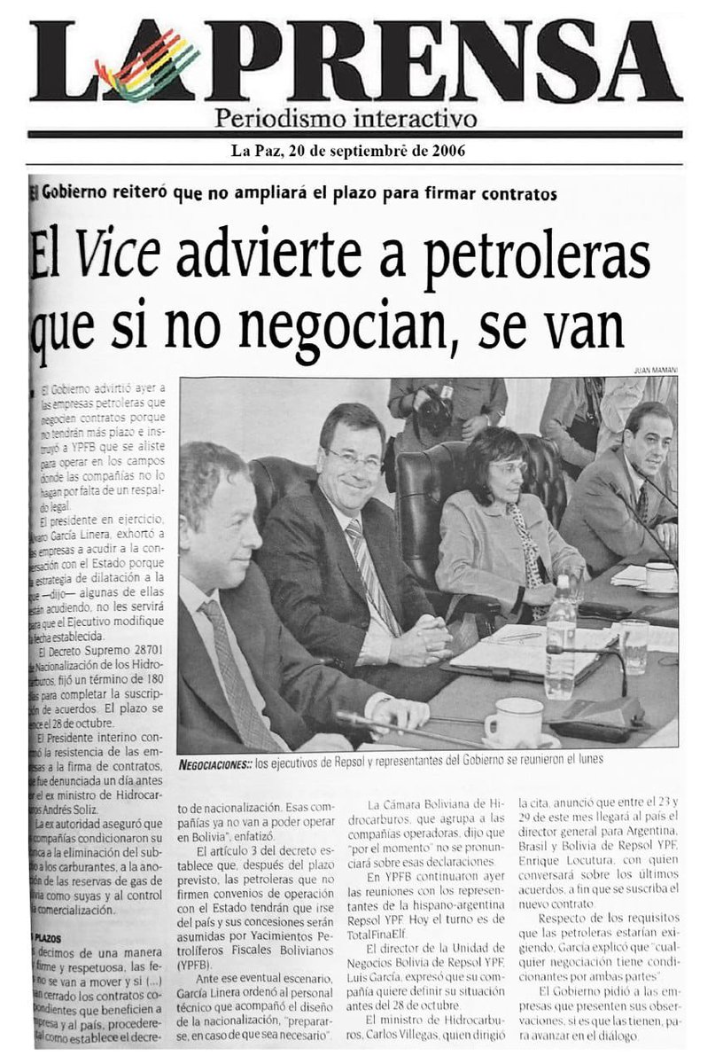 Como hoy, 2006, se reportó que el hermano Álvaro García Linera advirtió a las petroleras q…
