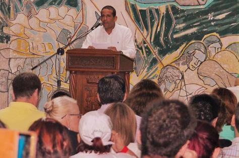 El presidente del Comité, Fernando Camacho, durante el encuentro cívico en la capital cruceña.