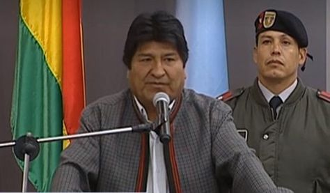 El presidente Evo Morales en la inauguración de las oficinas de ENDE en Cochabamba.