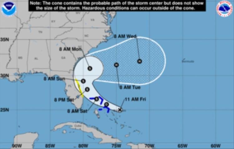 Desde este viernes y hasta el domingo se producirán lluvias en Las Bahamas de 2 a 4 pulgadas (Foto: Centro Nacional de Huracanes)