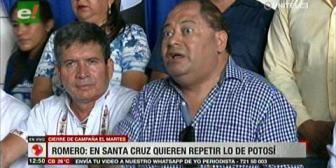 Romero acusa a cívicos cruceños de querer atacar como lo hicieron en Potosí