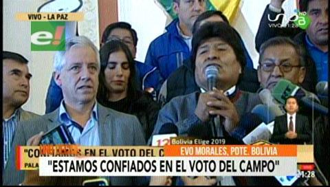 Evo se declara triunfador de las elecciones en Bolivia y se resiste a aceptar segunda vuelta