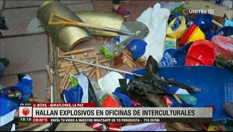 Encuentran dinamita en las instalaciones de los interculturales en La Paz