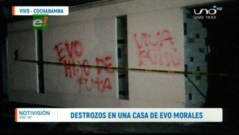 Reportan destrozos en una de las viviendas de Evo Morales en Cochabamba